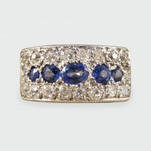 1930s Diamond and Sapphire Horizontal Panel Ring in 18ct Gold and Platinum