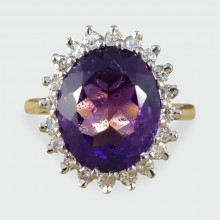 SOLD Vintage Amethyst and Diamond Cluster Ring set in 18ct Gold