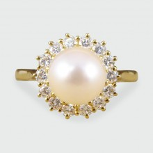 Contemporary Diamond and Pearl Cluster Ring in 18ct Gold