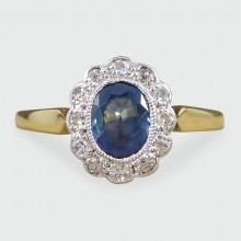 SOLD Antique Edwardian Blue Sapphire and Diamond Ring in 18ct Gold and Platinum