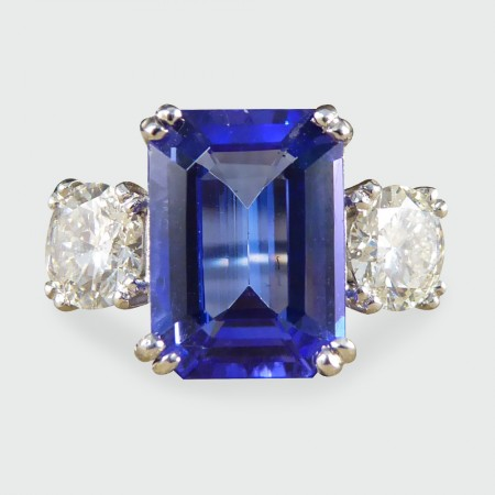 ring cut tanzanite three emerald ladies stone white gold diamond shop arrivals new