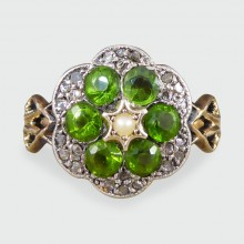 SOLD Antique Victorian Diamond Green Flower Ring in 9ct Gold
