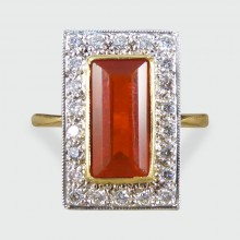 SOLD Vintage 1970s Fire Opal and Diamond Cluster Ring in 18ct Gold
