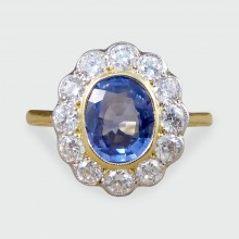 SOLD Vintage 1.36ct Sapphire and Diamond Cluster Ring 18ct Gold