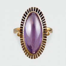 SOLD 1940's Cabachon Amethyst Ring set in 14ct Gold