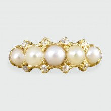 SOLD Victorian Five Stone Pearl and Diamond Ring set in 18ct Gold