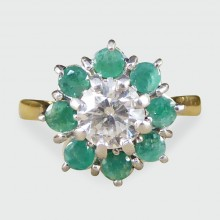 SOLD Vintage Emerald and Diamond Flower Cluster Ring in 18ct Gold