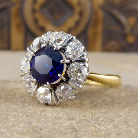 SOLD 1930's Sapphire and Old-cut Diamond Cluster Ring in 18ct Gold and Platinum