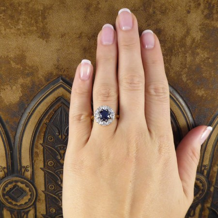 1930's Sapphire and Old-cut Diamond Cluster Ring in 18ct Gold and Platinum