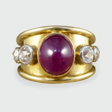 SOLD 1970's Ruby Cabochon and Diamond Ring in 18ct Yellow Gold