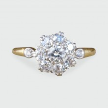 SOLD Edwardian Diamond Flower Cluster Ring in 18ct Gold and Platinum