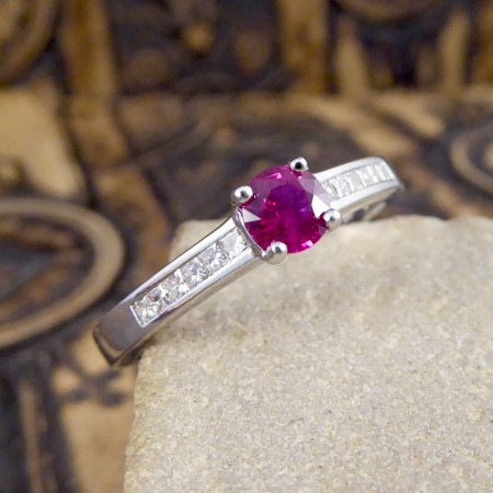 Contemporary Ruby Ring with Diamond set Shoulders in 18ct White Gold