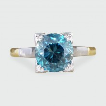 SOLD Art Deco 1.75ct Blue Zircon Ring in 18ct Yellow Gold and Platinum