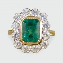 SOLD Contemporary Edwardian Style Emerald and Diamond Cluster Ring in 18ct Gold