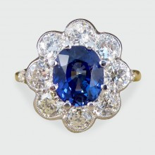 SOLD Contemporary, Edwardian Style Sapphire and Diamond Cluster Ring in 18ct Gold