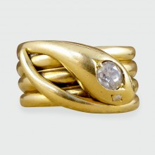 SOLD Late Victorian Diamond set Serpent Ring in 18ct Yellow Gold