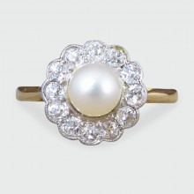 SOLD Edwardian Pearl and Diamond Cluster Ring set in 18ct Gold