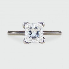 Contemporary Princess Cut Diamond Solitaire in 18ct White Gold
