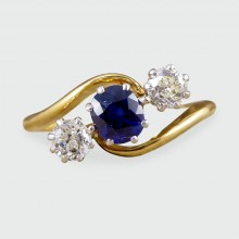 SOLD Edwardian Sapphire and Diamond Three Stone Twist in 18ct Gold