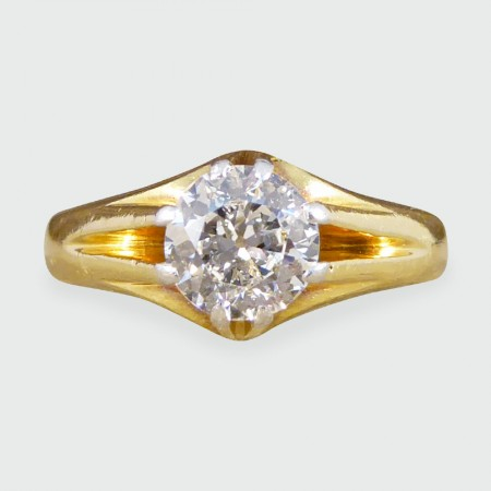Antique Late Victorian Gypsy set Diamond Ring in 18ct Gold and Platinum