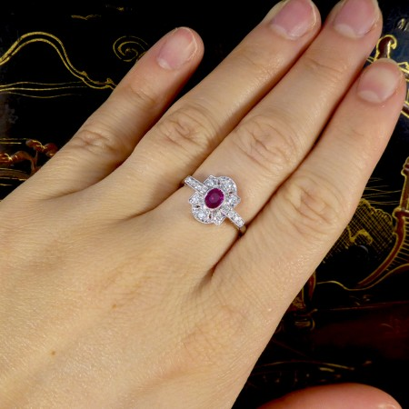 SOLD Contemporary Art Deco Style Ruby and Diamond Ring Mounted in 18ct White Gold