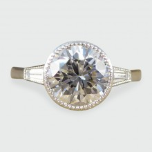 SOLD 1.58ct Diamond Solitaire Engagement Ring with Tapered Baguette Shoulders in Platinum