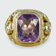 SOLD Early Victorian Amethyst and Old Cut Diamond Ring in Gold