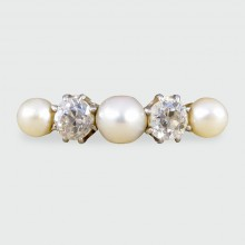SOLD Edwardian Natural Pearl and Diamond Ring in 18ct Gold