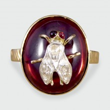 SOLD Antique Victorian Cabochon Garnet Insect Ring with Diamonds in 18ct Gold