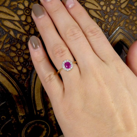 SOLD Edwardian Ruby and Diamond Cluster ring in 18ct Yellow Gold and Platinum