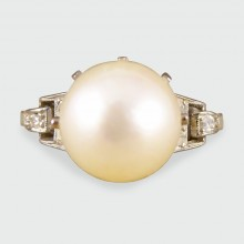 SOLD Art Deco Pearl and Diamond Ring in 18ct White Gold