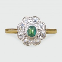 SOLD 1930's Emerald and Diamond Cluster Ring in 18ct Gold and Platinum