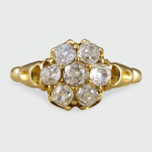 SOLD Antique Victorian Diamond Cluster Ring in 18ct Yellow Gold