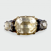 SOLD Antique Georgian Foiled Back Paste Three Stone Ring in 18ct Unmarked Gold
