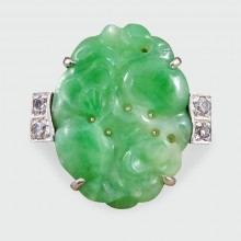 Art Deco Carved Jade and Diamond Ring in Platinum and 18ct White Gold