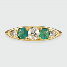 Late Victorian Emerald and Diamond Five Stone Ring in 18ct Yellow Gold