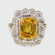 SOLD 3.22ct Yellow Sapphire and Diamond Cluster Ring in 18ct White Gold