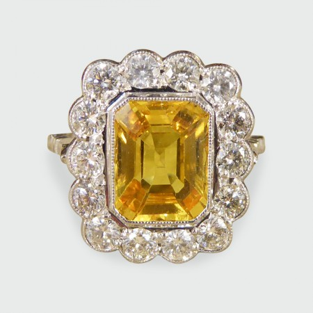 ef776d5a86f57 3.22ct Yellow Sapphire and Diamond Cluster Ring in 18ct White Gold