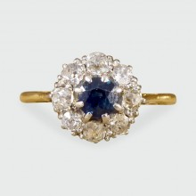 SOLD 1930's Sapphire and Diamond Cluster Ring in 18ct Yellow Gold and Platinum