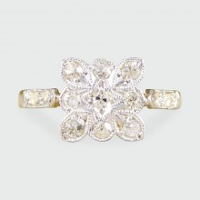 SOLD Art Deco Square Diamond Set Ring in 18ct Gold and Platinum