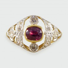 SOLD Antique Ruby and Diamond Ring set in 18ct Gold