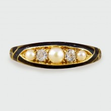 SOLD Late Victorian Diamond and Pearls set Mourning Ring in 18ct Yellow Gold