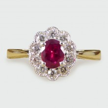 SOLD Ruby and Diamond Cluster Ring in 18ct Gold