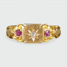 SOLD Edwardian Diamond and Ruby set Ring in 18ct Yellow Gold