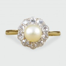 SOLD Edwardian Pearl and Diamond Cluster Ring in 18ct Yellow Gold