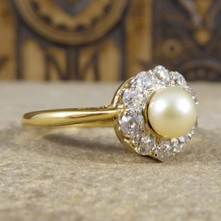Edwardian Pearl and Diamond Cluster Ring in 18ct Yellow Gold