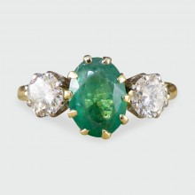 SOLD 1930's Emerald and Diamond Three Stone Ring in 18ct Yellow Gold