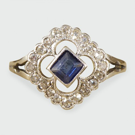 Antique Edwardian Sapphire and Diamond Ring in 18ct Gold
