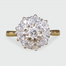 SOLD Edwardian Diamond Cluster Ring in 18ct Yellow Gold and Platinum