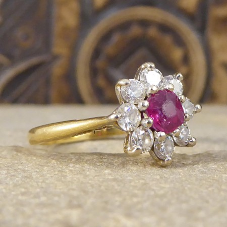 Vintage Ruby and Diamond Flower Cluster Ring in 18ct Gold
